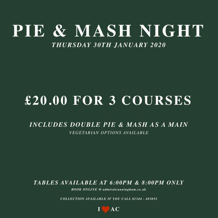 London Pie & Mash Night 30.01.20